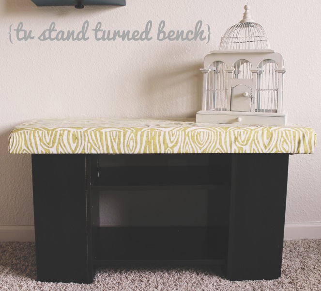 {tv stand turned bench}
