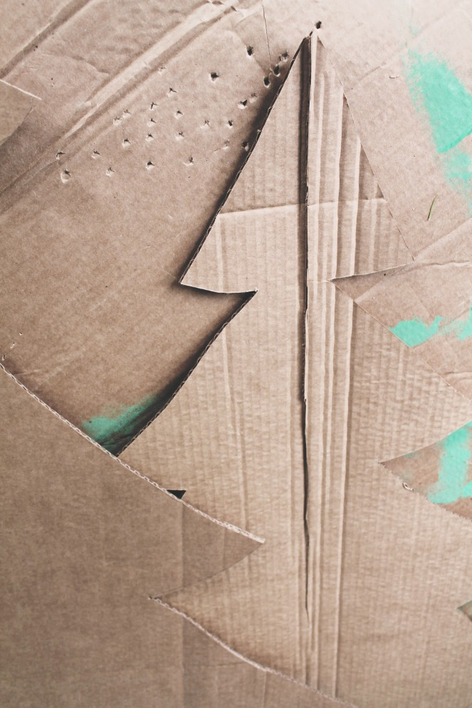 {creating a cardboard forest} cutting slit