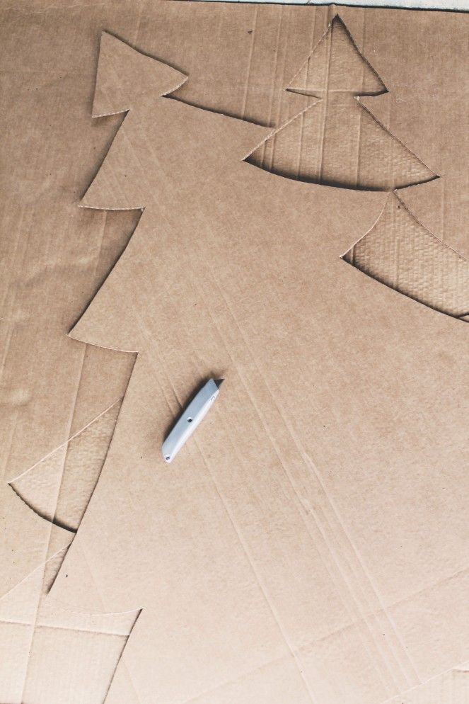 {creating a cardboard forest} cutting