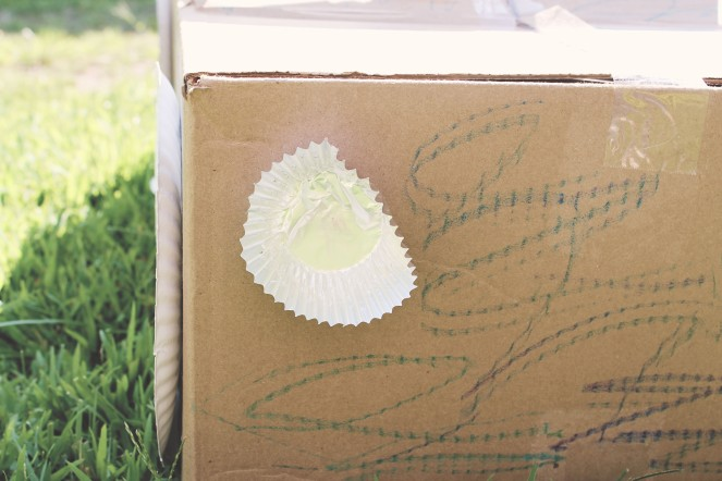 {creating a box car} cupcake liner head light