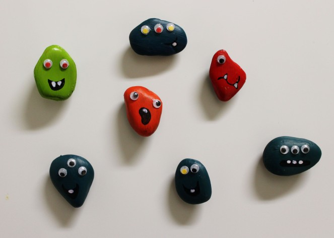 {creating candyless valentines} rock monsters