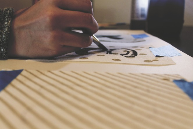 {creating personalized bunting} painting