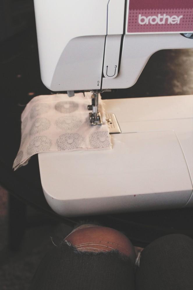 {creating a baby blanket} sewing with gap