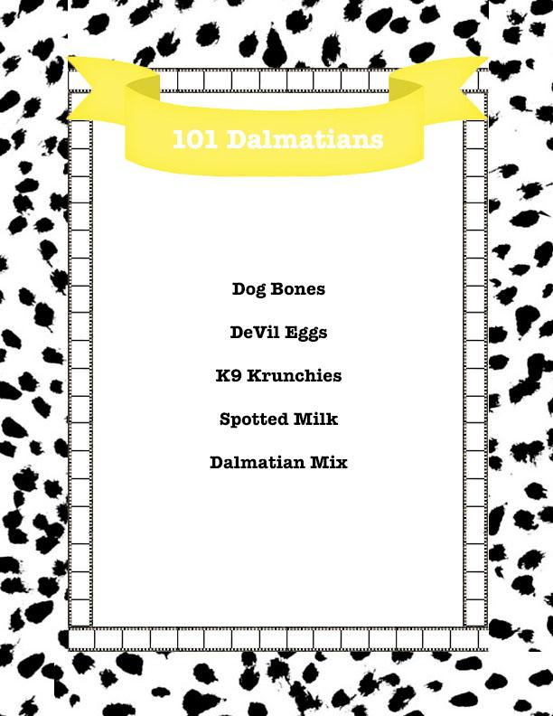 101 dalmatians menu